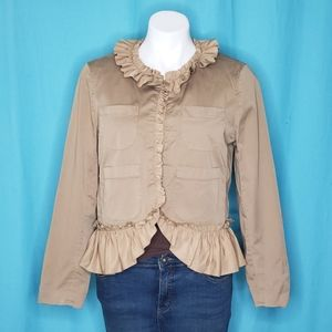 3/$25 J Crew Ruffle Chino Tan Jacket. Size 10